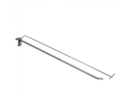 HPP 348 /Крючок одинарный на прямоуг. трубу 30х15мм c ценникодерж. (L-500, d-4/9мм)